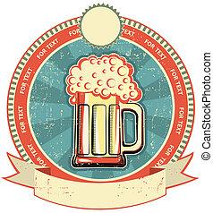 stil, etikett, papper, gammal, texture., öl, årgång