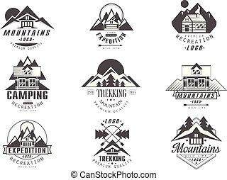 stil, expedition, sätta, camping, logo, fjäll, vektor, retro, bakgrund, trekking, illustrationer, monokrom, vit, märken