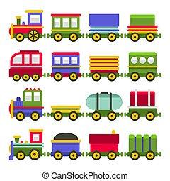 stil, färg, järnväg, set., leksak, vektor, tecknad film, tåg
