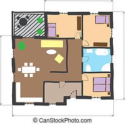 stil, färgad, golv, klotter, hus, plan