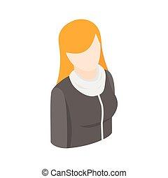 stil, frau, haar, langer, isometrisch, rotes , 3d, ikone