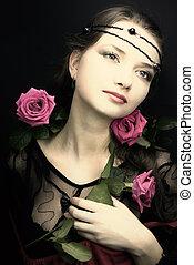 stil, frau, rose., mittelalterlich, junger