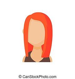 stil, frau, rothaarige, avatar, karikatur, ikone