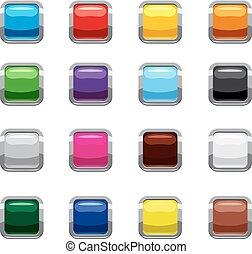 stil, fyrkant, ikonen, sätta, knäppas, tom, tecknad film