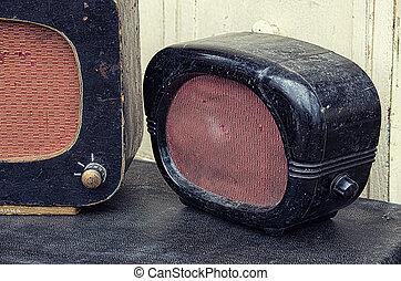 stil, gammal, Årgång, avbild, Radior,  retro