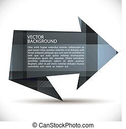 stil, geformt, hintergrund., vektor, pfeil, origami
