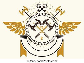 stil, gemacht, altes , ritterwappen, abbildung, vektor, waffenkammer, emblem