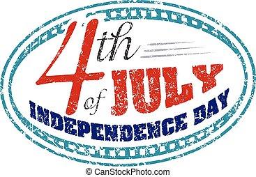 stil, grunge, stämpel, underteckna, gummi, fjärde, juli, dag, oberoende