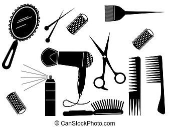 stil, hår, skönhet sällskapsrum, vektor, element.