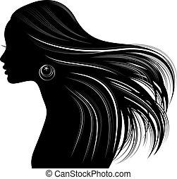 stil, haar, silhouette, frau