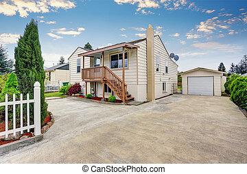 stil, haus, garage, amerikanische , bungalow, zufahrt, außen