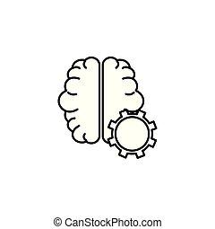 stil, hjärna, drev, fodra, idé, ikon, anslutning