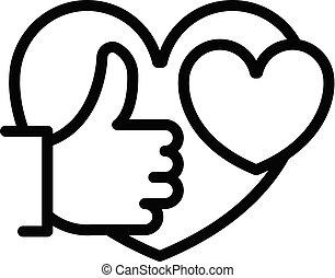 stil, ikon, hjärta skissera, tumme uppe