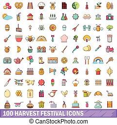 stil, ikonen, festival, sätta, 100, skörd, tecknad film