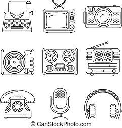 stil, ikonen, media, enheter, klen förfaringssätt, retro