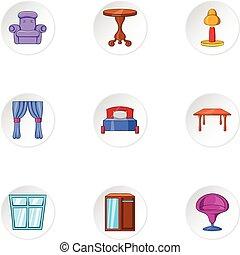 stil, ikonen, sätta, hem, tecknad film, möblemang