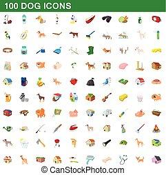 stil, ikonen, sätta, hund, 100, tecknad film