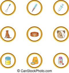 stil, ikonen, sätta, klinik, djur, tecknad film