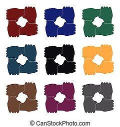 stil, illustration., ikone, symbol, freigestellt, hintergrund., spende, vektor, schwarz, hände, ring, wohltätigkeit, weißes, bestand