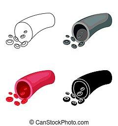 stil, illustration., symbol, freigestellt, hintergrund., vektor, ader, weißes, ikone, organe, karikatur, bestand