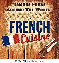 stil, illustration, vektor, fransk, retro, kokkonst, affisch