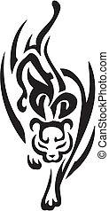 stil, jaguar, stammes-, -, abbildung, vektor