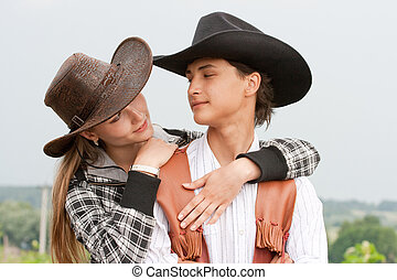 stil, kärleksfullt par, retro