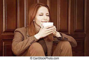 stil, kaffe, doors., ved, redhead, drickande, flicka