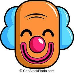 stil, kopf, clown, ikone, lächeln, karikatur