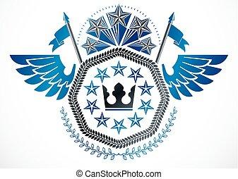stil, krone, gebrauchend, geschaffen, geflügelt, weinlese, kranz, etikett, fünfeckig, vektor, design, retro, sternen, monarch, lorbeer, element.