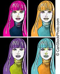stil, kvinna, konst, ung, pop, stående