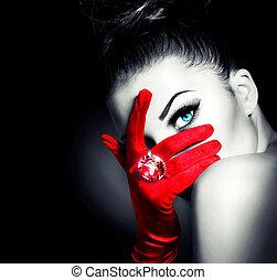 stil, kvinna, tröttsam, handskar, mystisk, årgång, röd, glamour