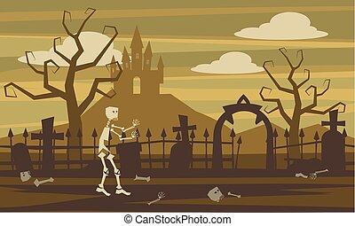 stil, landskap, skelett, illustration, mystisk, isolerat, tecken, kyrkogård, vektor, halloween, mystisk, tecknad film, slott