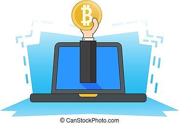 stil, laptop, currency., crypto, coin., fästen, bitcoin, lägenhet, hand, gruvdrift, begrepp