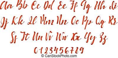 stil, lateinisches alphabet, brief, schriftart, red., geschenkband