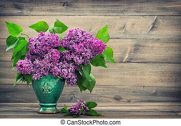 stil, lila, Trä, Årgång, bakgrund, Blomstrar