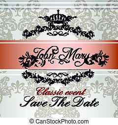 stil, lyxvara, inbjudan, kort, bröllop, design, elegant