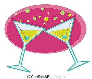 stil, martinis, illustration., retro