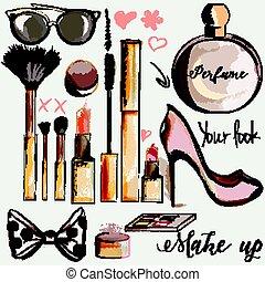 stil, mascara, läppstift, mode, uppe, parfym, göra, sätta, vektor, vattenfärg, borstar, accesories