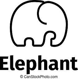 stil, minimalistic, vektor, elefant, poppig, logo, linie