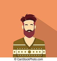 stil, mode, manlig, avatar, profil, man, ikon, hipster