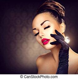 stil, mode, skönhet, årgång, glamour, portrait., flicka