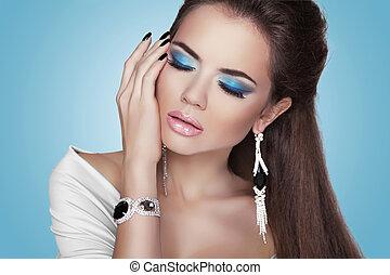 stil, mode, smycken, skönhet, kvinna, portrait., flicka, modell, dyrt