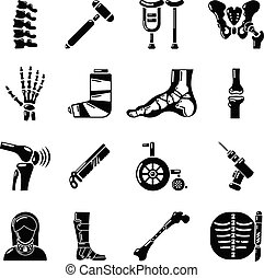 stil, orthopedist, ikonen, sätta, enkel, redskapen, ben
