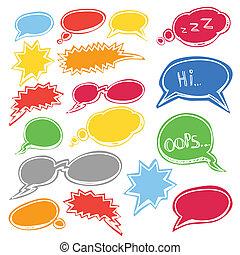 stil, prata, färgad, skyn, komiker