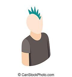 stil, punker, isometrisch, ikone, kerl, 3d