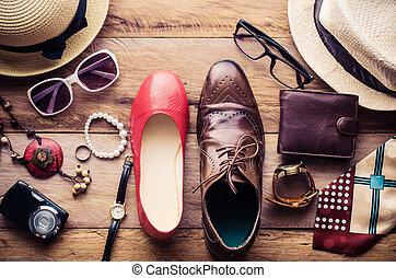 stil, reise, maenner, -, leben, accessoirs, bereit, kleidung...