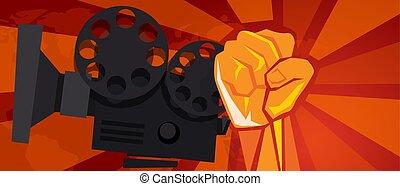 stil, revolution, kino, film, symbol, unterhaltung, politisch, hand, kommunismus, auflehnen, faust, plakat, propaganda, retro