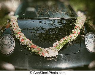 stil, romantisk, årgång, bil, bröllop, dekorerat, blomningen