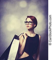 stil, rothaarige, m�dchen, mit, einkaufstüten